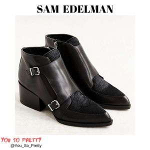 SAM EDLEMAN CALF HAIR MOTO-STYLE BOOTIES